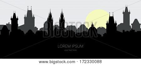 Silhouette of old town of Prague. Cityscape in the european city at sunrise. Vector illustration for website or banner. Travel background with space for text.