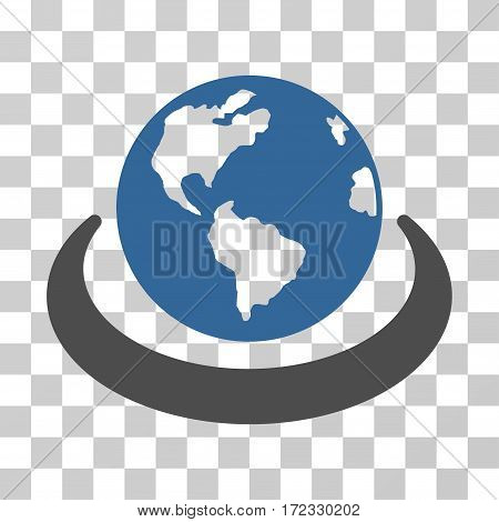International Network vector pictogram. Illustration style is flat iconic bicolor cobalt and gray symbol on a transparent background.