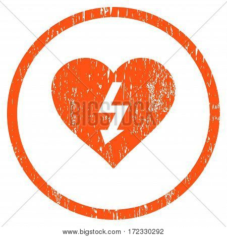 Power Love Heart grainy textured icon for overlay watermark stamps. Rounded flat vector symbol with dirty texture. Circled orange ink rubber seal stamp with grunge design on a white background.