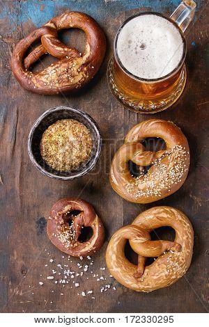 Lager Beer With Pretzels