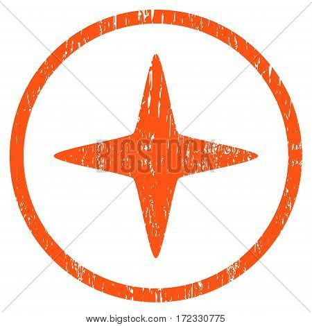 Sparkle Star grainy textured icon for overlay watermark stamps. Rounded flat vector symbol with unclean texture. Circled orange ink rubber seal stamp with grunge design on a white background.