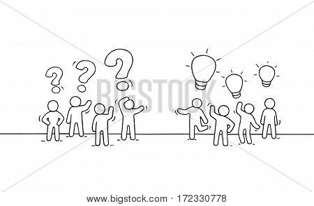 Cartoon working little people with thinking signs. Doodle cute miniature scene of two teams. Hand drawn vector illustration for business and social design.