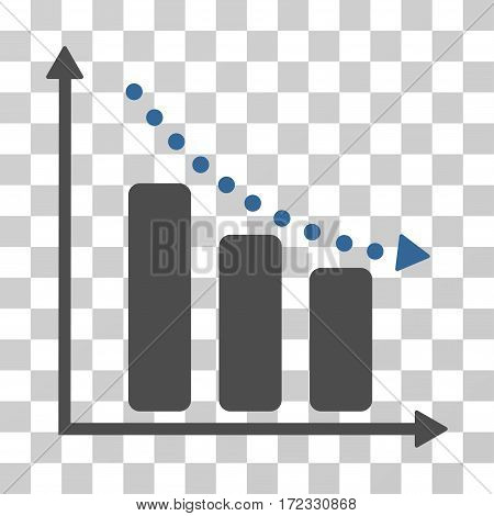 Negative Trend vector pictogram. Illustration style is flat iconic bicolor cobalt and gray symbol on a transparent background.