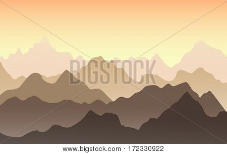 Beautiful mountain landscape in the summer evening. Vector illustration. Sunset in the mountains.