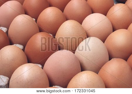 fresh chicken brown eggs in packing a close up. food. top view. toning