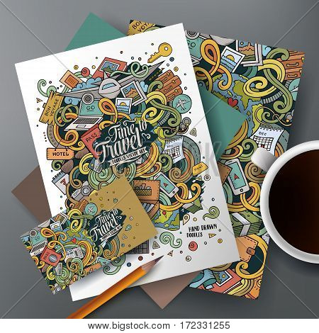 Cartoon cute colorful doodles traveling corporate identity set. Templates design of business card, flyers, posters, papers on the table.