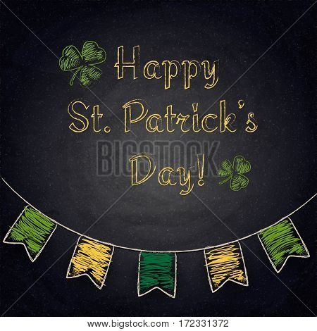 Happy St.patrick's Day On Chalkboard Background
