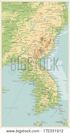Korean Peninsula large detailed physical map retro colors.