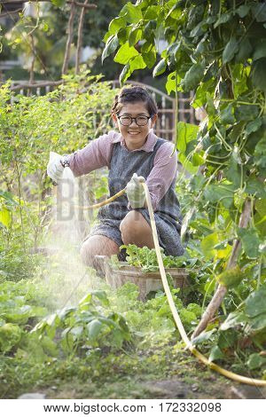 asian woman relaxing water pouring in home vegetable garden