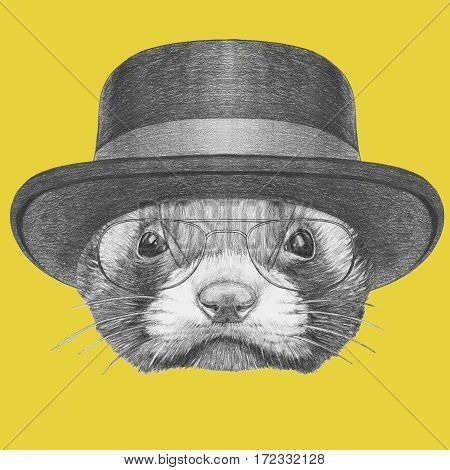 Portrait of Least Weasel with hat and glasses. Hand drawn illustration.