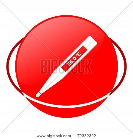Red icon, electronic thermometer vector illustration on white background
