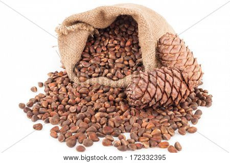 Pine nuts in a sackcloth bag