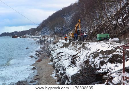 shore strengthening protection and construction of the cliff