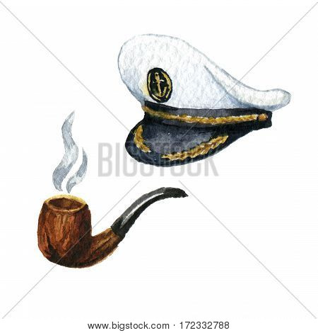 Watercolor illustrations smoking pipe and captain cap isolated icons on white background