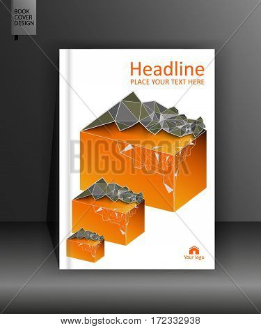 Brochure book cover design in A4. Business leaflet flyer annual report poster journal geographical conference. Vector low poly illustration.