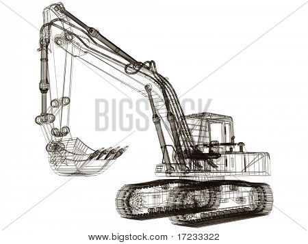 3d model excavator poster