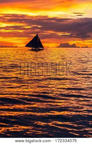Beautiful sunset at Boracay beach, Philippines.