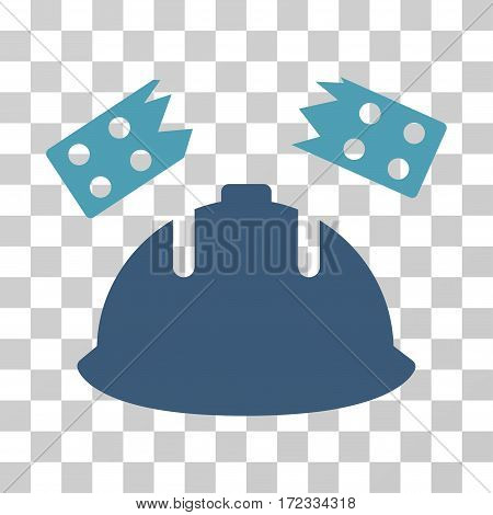 Brick Helmet Accident vector pictograph. Illustration style is flat iconic bicolor cyan and blue symbol on a transparent background.