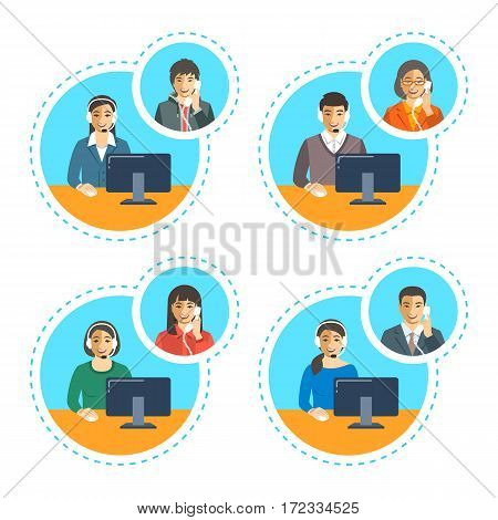 Asian call center agents team talking on the phone with customers. Flat vector banners. Customer care operators. Online technical support service assistants with headphones.