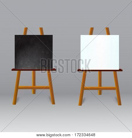 Black Board and White Set Of Easel Front View on grey background. Vector illustration.