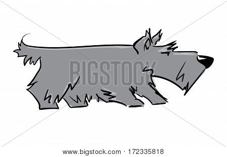 scottish terrier. pet dog cartoon character. gray color