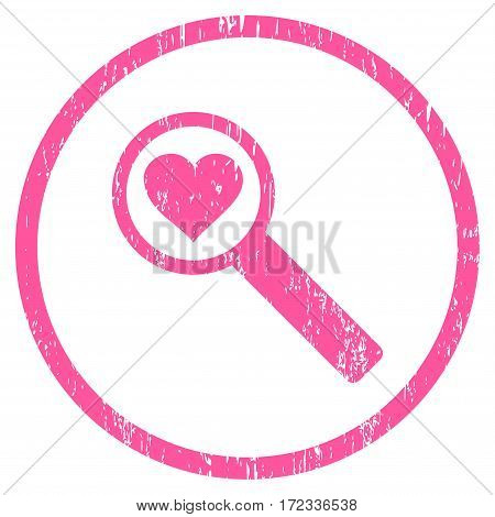 Find Love grainy textured icon for overlay watermark stamps. Rounded flat vector symbol with scratched texture. Circled pink ink rubber seal stamp with grunge design on a white background.