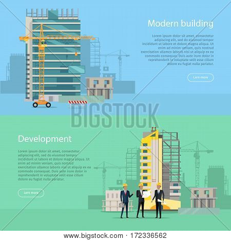 Modern building. Development. Web banner. Collection of two illustrations. Simple cartoon style. Flat design. Unfinished building. Men in black suits and helmets standing near high house. Vector