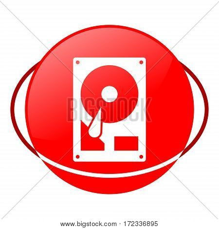 Red icon, hard drive vector illustration on white background poster