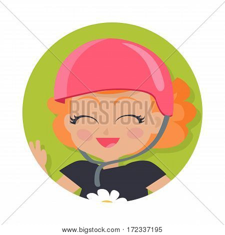 Illustration of isolated girl with short wavy red hair. Portrait of nice female person in dark t-shirt and round pink helmet. Flush on face. Simple cartoon style. Front view. Flat design. Vector