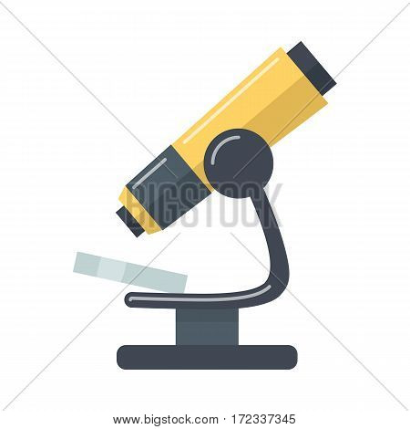 Microscope cartoon icon. Scientific and medical magnifying instrument flat vector illustration isolated on white. Laboratory equipment for microbiological researching. Practical science and experiment