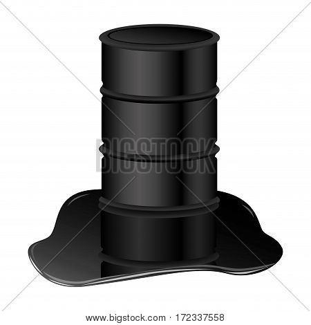 color silhouette with barrel oil spilled vector illustration