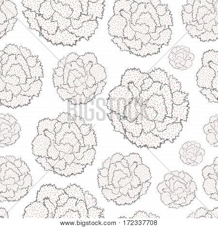Seamless pattern of stylized simplified flowers Carnations. Vector illustration