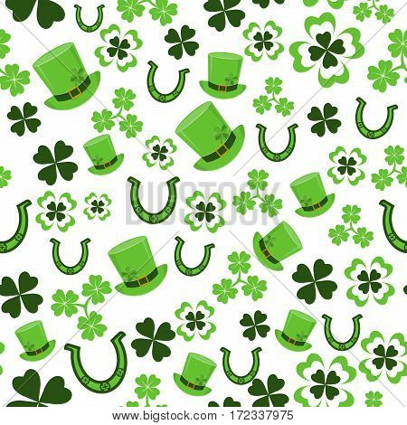 Vector illustration of seamless pattern background with four leaved green clover, hat, horseshoe for saint Patricks day greeting isolated on white background
