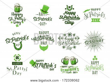 Vector illustration of happy patricks day typography lettering text design. Set of logo, emblems, greeting message, holiday card, overlay templates isolated on white background