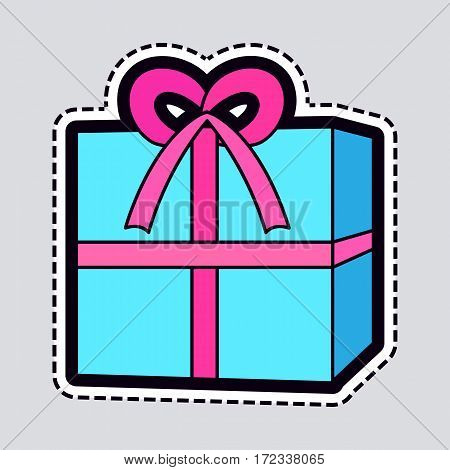 Isolated New Year blue box with pink ribbon on it. Illustration of huge xmas giftbox in simple cartoon style. Colourful big bow on top. Cut out of paper. Box patch. Flat style design. Vector