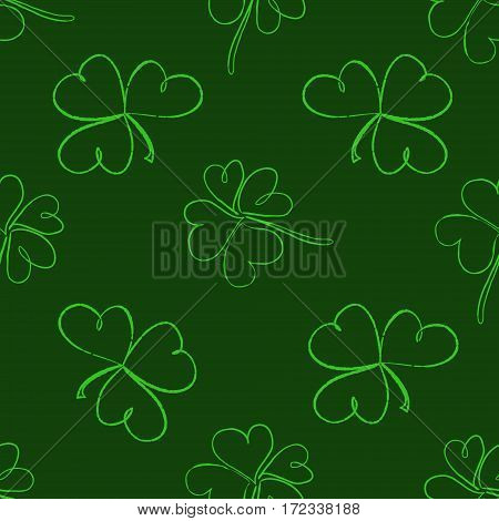 Clover Seamless Pattern. Clover Pattern With Three And Four Leaf In Green Colours. St. Patrick's Day