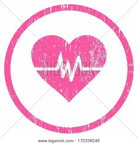 Heart Pulse grainy textured icon for overlay watermark stamps. Rounded flat vector symbol with dirty texture. Circled pink ink rubber seal stamp with grunge design on a white background.