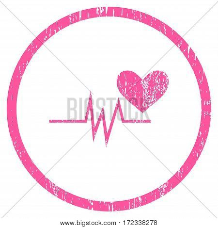 Heart Pulse Signal grainy textured icon for overlay watermark stamps. Rounded flat vector symbol with scratched texture. Circled pink ink rubber seal stamp with grunge design on a white background.
