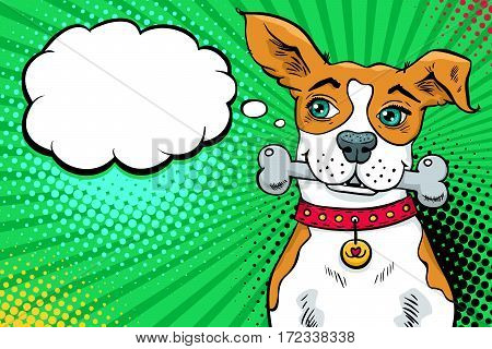 Funny pop art dog with big green eyes holding a bone in his mouth and looking at the speech bubble. Vector bright illustration in retro comic style. Invitation poster.