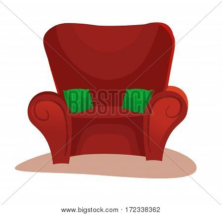 Red soft chair icon on white background with shadows and vector illustration. green pillows cartoon style.