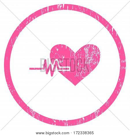 Heart Pulse grainy textured icon for overlay watermark stamps. Rounded flat vector symbol with unclean texture. Circled pink ink rubber seal stamp with grunge design on a white background.