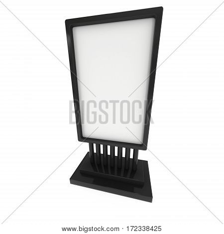 LCD Screen Stand. Blank Black Trade Show Booth. 3d render of lcd screen isolated on white background. High Resolution. Ad template for your expo design.