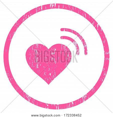 Heart Radio Signal grainy textured icon for overlay watermark stamps. Rounded flat vector symbol with unclean texture. Circled pink ink rubber seal stamp with grunge design on a white background.