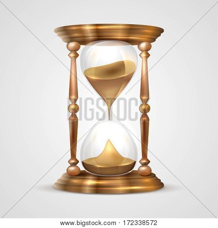 Shiny realistic transparent glass and wooden sandglass on gray background - vector illustration