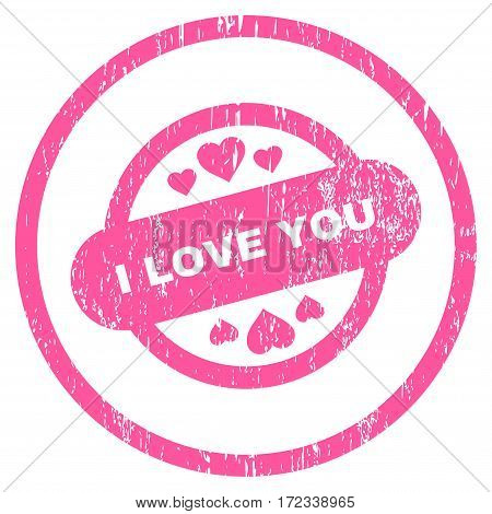 I Love You Stamp Seal grainy textured icon for overlay watermark stamps. Rounded flat vector symbol with dirty texture. Circled pink ink rubber seal stamp with grunge design on a white background.