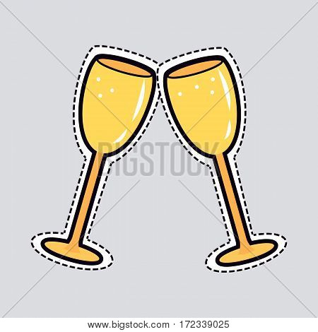 Illustration of two clinking golden glasses. Cut out of paper. Simple cartoon design. Bright yellow cups for champagne in oval shape on long legs. Some bubbles inside. Flat design. Side view. Vector