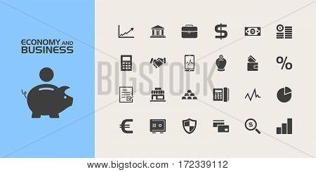 Group of twenty economy and business icons