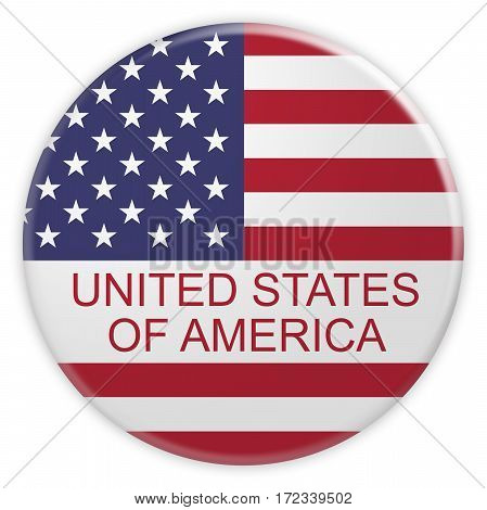 News Concept Badge: United States of America Button With US Flag 3d illustration on white background