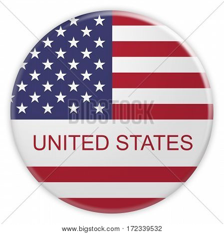 News Concept Badge: United States Button With US Flag 3d illustration on white background