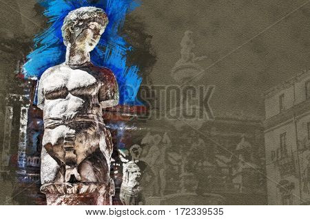 Beautiful sculpture of the famous fountain of shame on baroque Piazza Pretoria, Palermo, Sicily, Italy. Modern Painting. Brushed artwork based on photo.